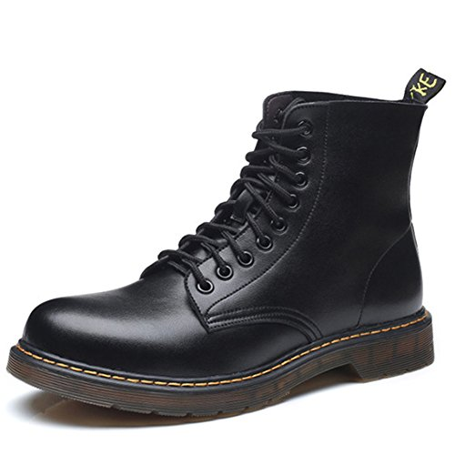 Men's Women's Lace Up Ankle Boots Leather Flat Boots Classic Warm Waterproof Shoes for Autumn and Winter (Black)