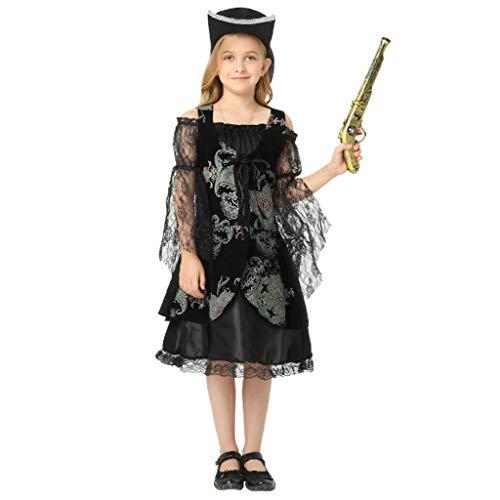 DONGBALA Halloween-Piratenkleidung, Mädchen Kleid Junge Cosplay Kostüm Kostüm Outfit Halloween Dress Up Schulkarneval Für Mädchen Und Jungen (Schwarz Aufblasbare Lustige Kostüm)