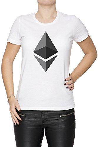 Erido Ethereum ETH Mujer Camiseta Cuello Redondo Blanco Manga Corta Tamaño M Women'S T-Shirt White Medium Size M