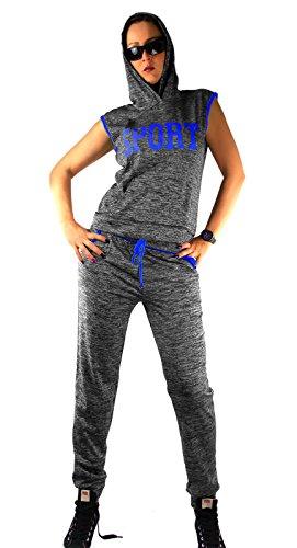 Feminine Anzug (Damen Jogging Freizeit Anzug, Größe:S/M, Farbe:Blau)