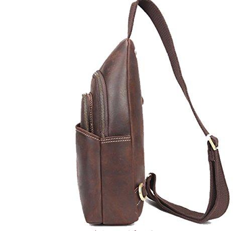 BULAGE Tasche Männer Brust Leder Persönlichkeit Retro Schulter Tasche Männliche Tasche Lässig Bequem Stilvoll Einfach Großzügig Brown
