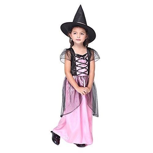 Feicuan Mädchen Halloween Kleid - Kinder Role Play Hexenkostüm Kurzarm und Hut Karneval Fasching