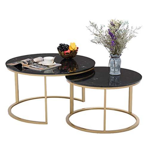 YWT 2 Stück Couchtisch, Kunstmarmor und Goldrahmen, rundes modernes Design, stapelbar, hochwertige Möbel für Wohnzimmer, Büro,Black (Faux-marmor-küche-tisch-set)