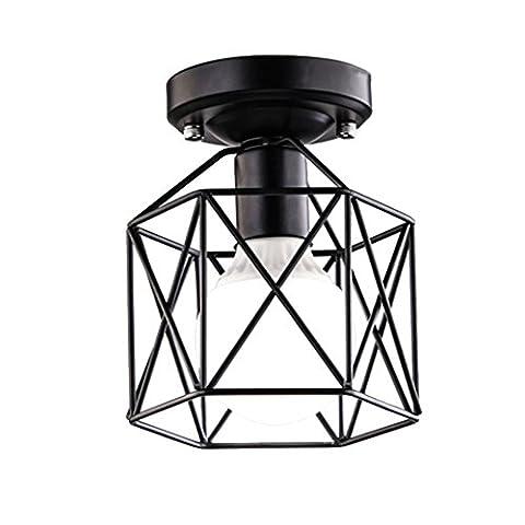 Industrielle Diamant Form Deckenleuchte, SUN RUN Kreativ Retro Wire Cage Licht Leuchte Kronleuchter Vintage Metall Pendelleuchte mit lackiertem Finish für Esszimmer Küche