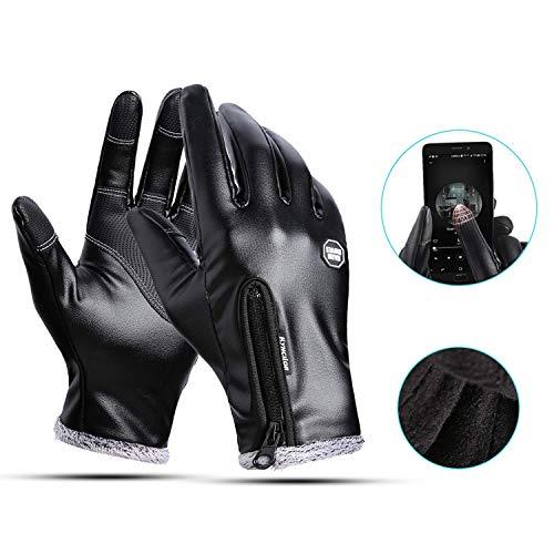 Ivylife guanti touch screen - guanti invernali in pelle di pu da moto bici per corsa ciclismo palestra bicicletta antivento unisex (m)