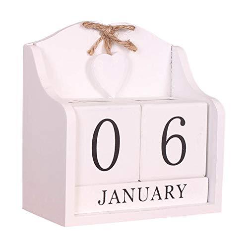 PerGrate - Calendario perpetuo in Legno a Forma di Cuore con Fiocco