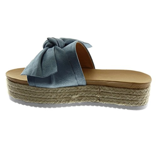 Angkorly Scarpe Moda Sandali Mules Slip-On Zeppe Donna Nodo Corda Intrecciato Tacco Zeppa Piattaforma 4.5 cm Blu