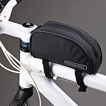 Docooler Tasche zur Befestigung am vorderen Fahrradrahmen., Schwarz