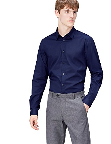 Find camicia slim fit in cotone uomo, blu (navy), large