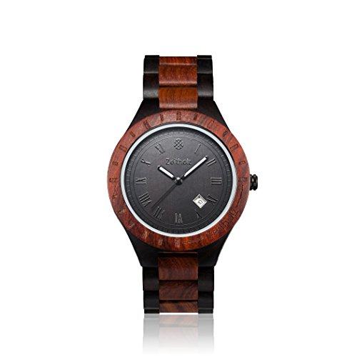 Zeitholz Herren-Holzuhr analog mit Sandelholz-Armband Modell Zittau schwarz - braun - 5