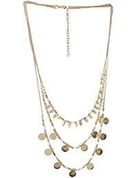 Shalinindia Necklace Golden Chains With Turquoise Resin Beads And Small Metallic Leaves Boho Fashion Jewellery...