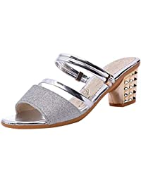 2018 Sandalias Amazon De Es Plateado Mujer Tacón Zapatos Verano 0w8nOPk