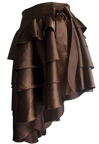 Martya Damen Vintage Kleid Steampunk Gothic Kostüm Spitze Asymmetrisch Rock (Satin Spandex Rock)