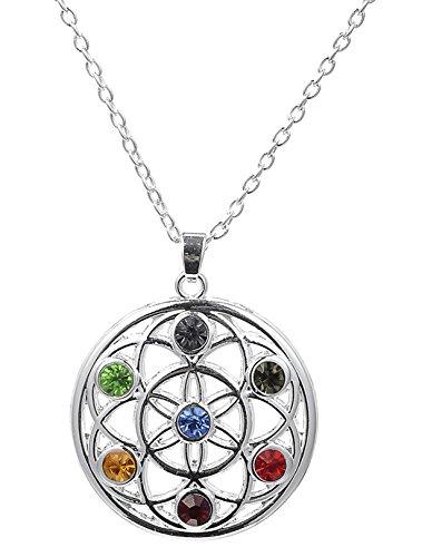 fishhook 7 Chakra Yoga Kristall Blume des Lebens Anhänger Halskette für Unisex Menschen