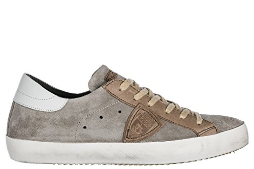 Philippe Model Chaussures Baskets Sneakers Homme en Daim Paris Gris