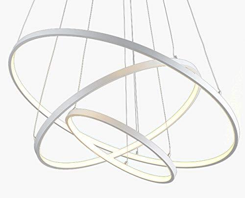 Moderne LED Dimmbar Pendelleuchte, Esstisch Hängelleuchte, Runde 3-Ring Esszimmer Pendellampe, Kronleuchter 120W 40+60+80cm Aluminium Wohnzimmer Deckenleuchte Schlafzimmer Hängelampe mit Fernbedienung