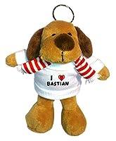Perro de peluche (llavero) con Amo Bastian en la camiseta (nombre de pila/apellido/apodo) de SHOPZEUS