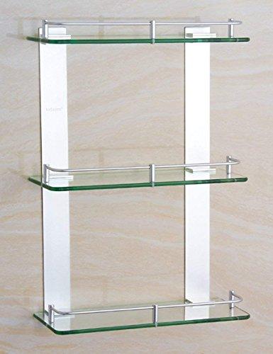 XQY Hochwertiges Küchen-Badezimmer-Regal, Raum-Aluminium Dreischichtiges Glas-Regal-Badezimmer-Badezimmer-stöckiges Gestell-quadratische Plattform-Regale (eine Vielzahl der Größen, zum von zu wählen) - Quadratische Glas-plattform
