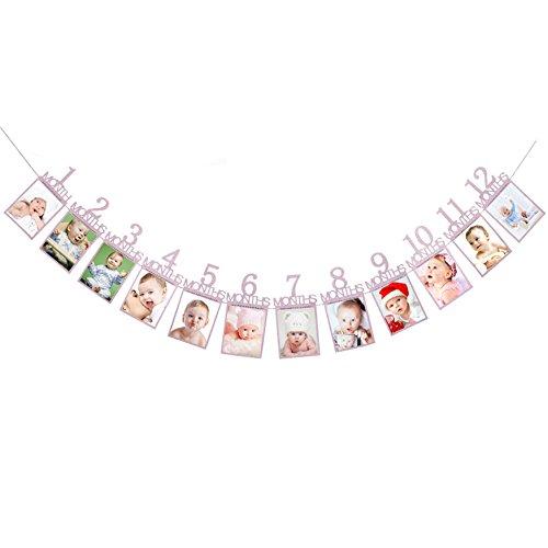Oblique Unique® Baby Girlande 12 Monate 1. Lebensjahr Monatsgirlande für Mädchen Babyshower Schwangerschaft Kinder Geburtstag in Pink Lila mit edlem Glitzereffekt