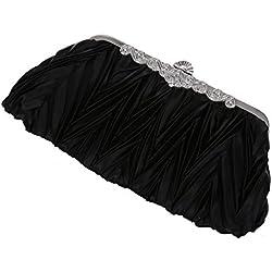 SODIAL(R)Bolso de embrague de saten plisado negro con estilo de Rhinestones para la boda/ fiesta de noche / partido