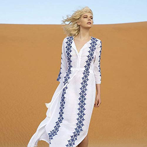 DFECVFGA White Beach Kleid Lange Baumwolle Gestickte Strand Röcke V-Ausschnitt Taille Kordelzug Röcke Bikini Cover Up Bluse Sonnencreme Frauen -