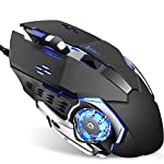 Gaming Mouse,4 Adjustable DPI Levels,Breathing LED Light, 6 Buttons,Flash Wing For MAC&PC(Black)