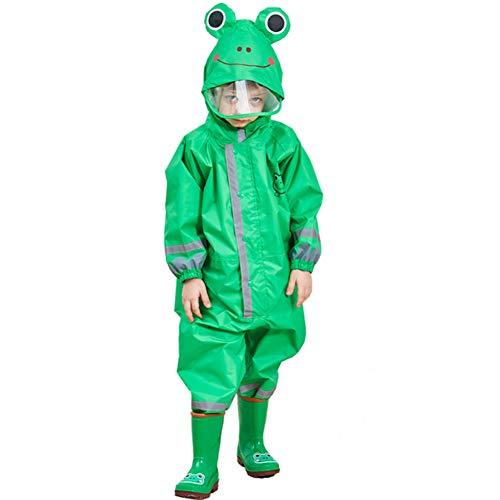Uniuooi Kids Hooded Raincoat Rainwear All-In-One Waterproof Children Rainsuit for Girls Boys Age 3-10 Years