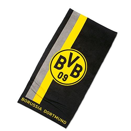 BVB Badetuch mit Logo/Streifenmuster, Baumwolle, Schwarz/Gelb, 180 x 70 x 1 cm