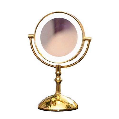 JILAN HOME Mirror- Miroir cosmétique à double couleur à LED à 2 couleurs Miroir mural à l'or de 7 pouces Miroir à miroir portable avec miroir léger Miroir de maquillage Miroir de beauté Miroir à pied mirror