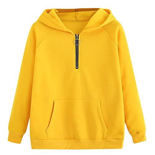VRTUR Damen Sweatjacke Hoodie Sweatshirt Pullover Brief gedruckt Kapuzenpulli Patchwork Pulli mit Kordel und Zip(XX-Large,Y-Gelb)
