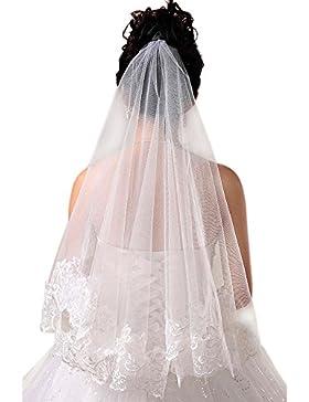Vococal - 1,5 m di Lunghezza Uno Strato Lungo Velo da Sposa Nuziale con Orlo in Pizzo Sposa Accessori per Signore...
