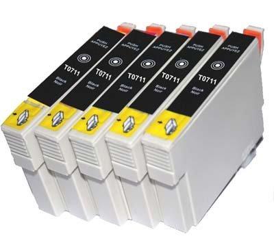 TIAN - 5 schwarz T0711 Kompatible Tintenpatronen 5x T0711 / T0891 schwarz Kompatibel für Druckermodelle Epson Stylus S20 S21 SX100 SX105 SX110 SX115,