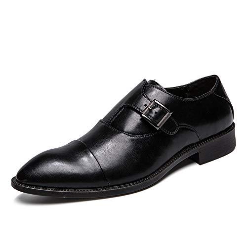 Jingkeke Herren Plus Size Business Oxfords Lässige Atmungsaktive Metallschnalle Formelle Schuhe auffällig (Color : Schwarz, Größe : 40 EU) -
