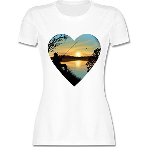 Angeln - Angeln im Sonnenaufgang Herz - tailliertes Premium T-Shirt mit Rundhalsausschnitt für Damen Weiß