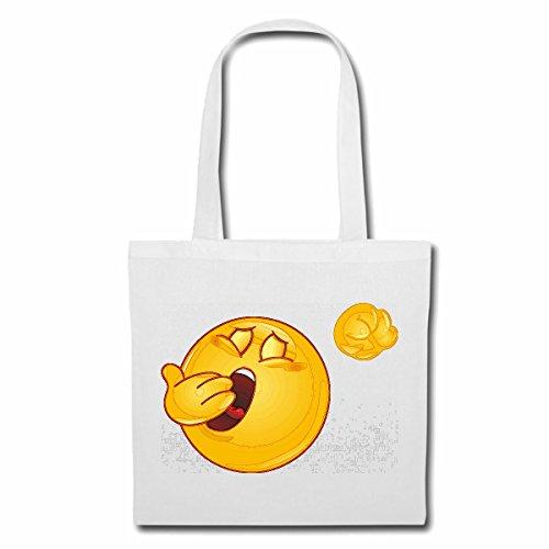 Tasche Umhängetasche MÜDER Smiley BEIM GÄHNEN Smileys Smilies Android iPhone Emoticons IOS GRINSE Gesicht Emoticon APP Einkaufstasche Schulbeutel Turnbeutel in Weiß (Das Weiße Gesicht, Reifen)