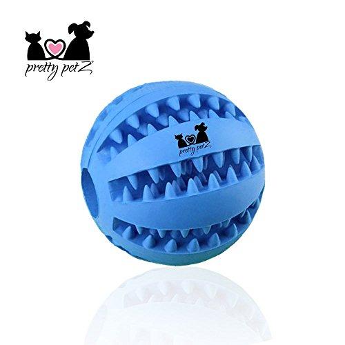Pretty petZ Hundeball mit Zahnpflege-Funktion Noppen aus Naturkautschuk | Robuster Hunde Ball Ø 7cm | Hundespielball für Große & Kleine Hunde | Kauspielzeug aus Naturgummi für Leckerli (1 - Dental Ball Ø 7 cm, Blau)