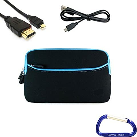 Gizmo Dorks Soft Neoprene Zipper Case (Black with Blue Trim), Micro USB Cable, and HDMI Cable with Carabiner Key Chain for the Acer Iconia Tab A100