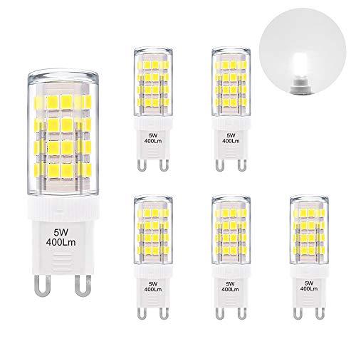 Lampe Ampoule Petite LED Culot G9 5W 400Lm Blanc Froid 6000K Economique Remplace Ampoule Halogene 40W AC220~240V pour Lampe Miroir Salle de Bain Lot de 6 de Enuotek