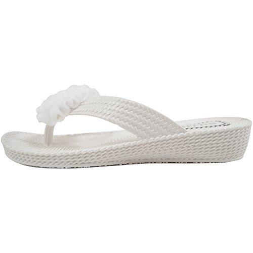Ciabatte da donna, sandali flip flop ideali per l'estate, le vacanze, la spiaggia, con fiore centrale decorativo White