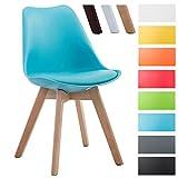 CLP Design Retro Stuhl BORNEO V2, Besucherstuhl mit Holzgestell, Materialmix aus Kunststoff und Kunstleder Blau, Gestellfarbe: natura