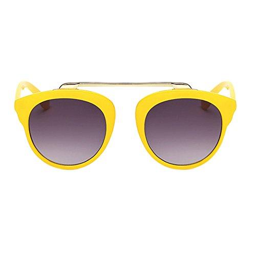 Haodasi Garçons et filles lunettes rondes cadre des lunettes de soleil de couleur yellow