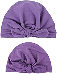 e4bed12604f Sukisuki 2Pcs Set Mother   Baby Daughter Matching Turban Cap Bowknot Solid  Color Beanie Hat