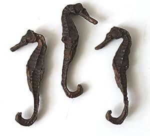 3 Seepferdchen 9cm Gießharz wie echt