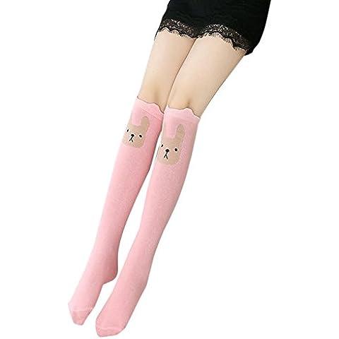 Ularma Conejo Animal niña patrón calcetines hasta la rodilla lindas impresión