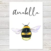 Personalised Bumblebee Print, Nursery Gift, Bedroom Bee Poster with Name A4 or A3