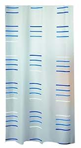 Spirella Gil PEVA Opaque Plastic Shower Curtain, 180 x 200 cm, Blue/ White