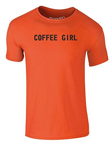 Brand88 - Coffee Girl, Erwachsene Gedrucktes T-Shirt Orange/Schwarz