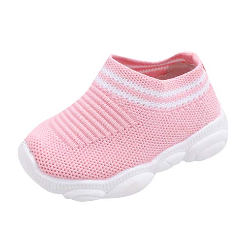 UOMOGO Scarpe Neonato Unisex in Pelle Morbida - Ricamo a Forma di Cuore - Sneaker Antiscivolo Mesh da neonata per 0-8 Anni