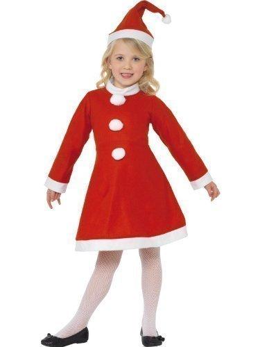 Kinder Mädchen Mrs Miss Claus Santa Weihnachtsmann Noel festlich Geschenk Kostüm Kleid Outfit - Rot, 4-6 Years, Rot (Mrs Claus Kostüm Kinder)