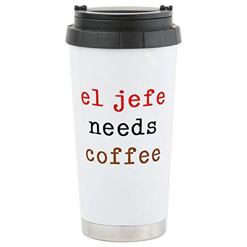 CafePress–el jefe necesidades café–Taza de viaje de acero inoxidable, con aislamiento 16oz vaso de café